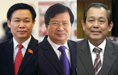 3 tân Phó Thủ tướng (từ trái qua): Vương Đình Huệ, Trịnh Đình Dũng, Trương Hoà Bình