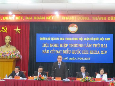 Chủ tịch Ủy ban Trung ương MTTQ VN Nguyễn Thiện Nhân phát biểu tại hội nghị