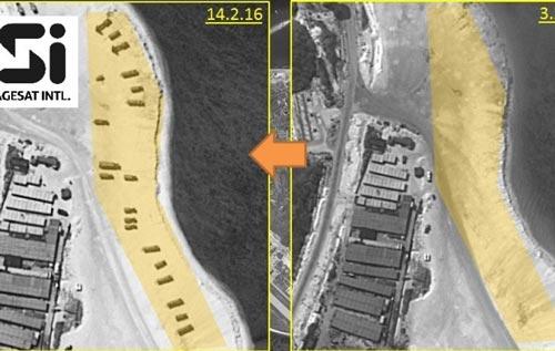 Ảnh vệ tinh cho thấy tên lửa trên bờ biển đảo Phú Lâm hôm 14-2 (trái)  trong khi ngày 3-2 chưa có gì. Ảnh: IMAGESAT INTERNATIONAL