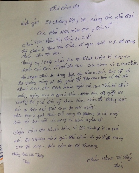 Bức thư cảm ơn của cặp vợ chồng người Dao gửi Bộ trưởng Bộ Y tế