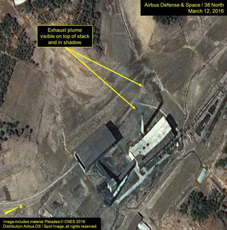 5 tuần qua, các cột khói xuất hiện 2-3 lần từ Phòng thí nghiệm hóa học phóng xạ của cơ sở hạt nhân Yongbyon. Ảnh: 38NORTH.ORG