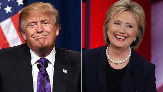 Tỉ phú Donald Trump và cựu ngoại trưởng Hillary Clinton Ảnh: CNBC