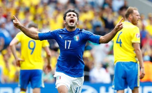 Eder sau bàn thắng đưa đội Ý sớm vào vòng 1/8 Ảnh: REUTERS