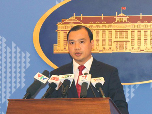 Người phát ngôn Bộ Ngoại giao Việt Nam Lê Hải Bình yêu cầu Trung Quốc chấm dứt ngay cuộc tập trận vi phạm nghiêm trọng chủ quyền của Việt Nam - Ảnh: D.Ngọc
