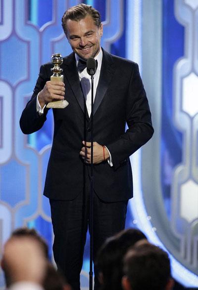 Diễn viên Leonardo Dicaprio nhận giải Quả cầu vàng lần thứ 73 Ảnh: Golden Global