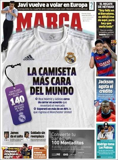 Nhật báo Marca đăng tải sự kiện lên trang bìa