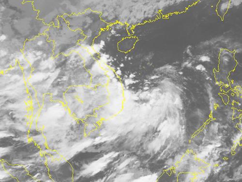 Ảnh mây vệ tinh áp thấp nhiệt đới gần bờ - Nguồn: Trung tâm dự báo khí tượng thuỷ văn Trung ương