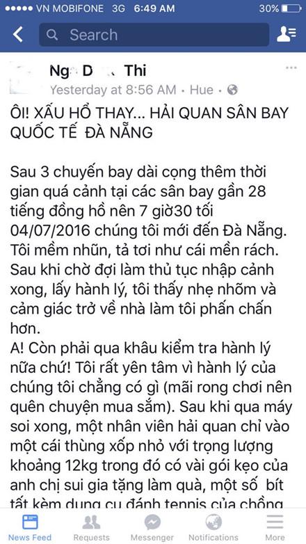 Hai cán bộ Hải quan sân bay Quốc tế Đà Nẵng bị tố nhũng nhiễu trên Facebook