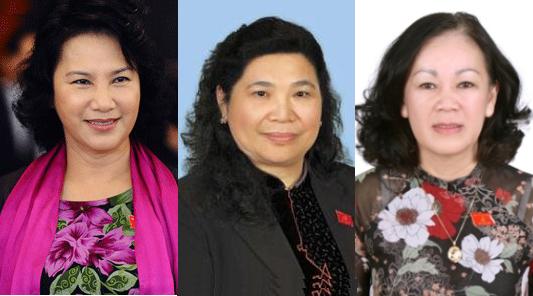 Ba nữ ủy viên Bộ Chính trị vừa được bầu (từ trái qua): Nguyễn Thị Kim Ngân, Tòng Thị Phóng và Trương Thị Mai