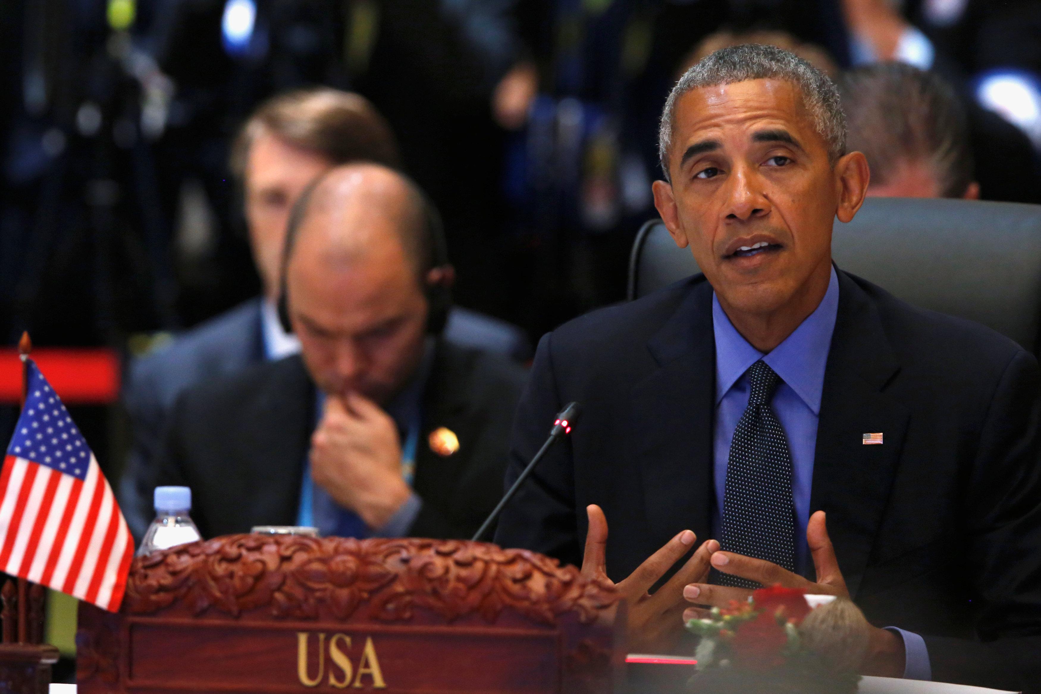 Tổng thống Mỹ Barack Obama phát biểu tại Hội nghị Cấp cao ASEAN - Mỹ ở thủ đô Vientiane - Lào ngày 8-9. Ảnh: Reuters
