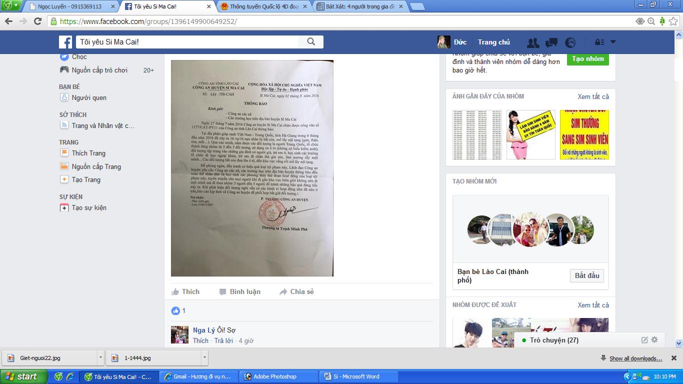 Thông báo do thượng tá Trịnh Minh Phú, Phó trưởng Công an huyện Si Ma Cai ký.