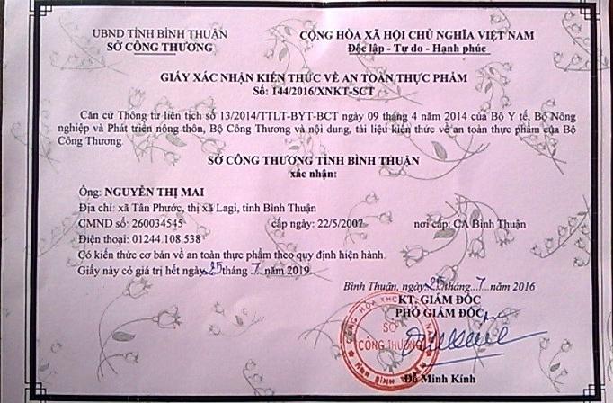 Hai trong số giấy xác nhận bị Sở Công Thương Bình Thuận chuyển giới
