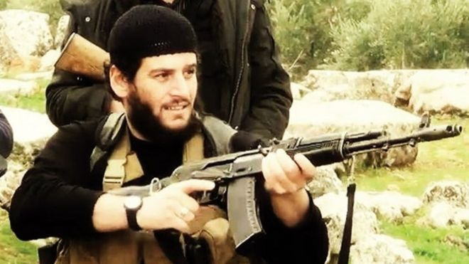 Abu Muhammad al-Adnani, một trong những thủ lĩnh khét tiếng nhất của IS. Ảnh: BBC