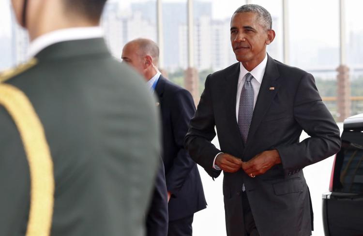 Ông Obama tại Hàng Châu. Ảnh: EPA