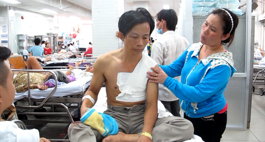 Anh Hồ Hải Sinh bị thương vùng ngực