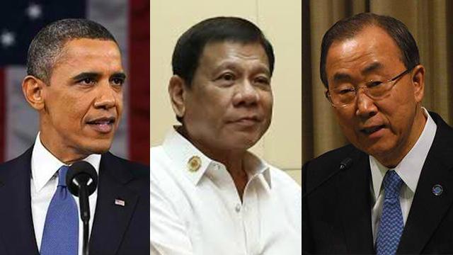 Từ trái qua: Tổng thống Mỹ Barack Obama, Tổng thống Philippines Rodrigo Duterte và Tổng thư ký Liên Hiệp Quốc Ban Ki-moon. Ảnh: Rappler