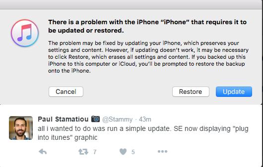 Thông báo hiện ra khi đang kết nối thiết bị đang nâng cấp iOS 10 vào iTunes. Ảnh chụp màn hình.