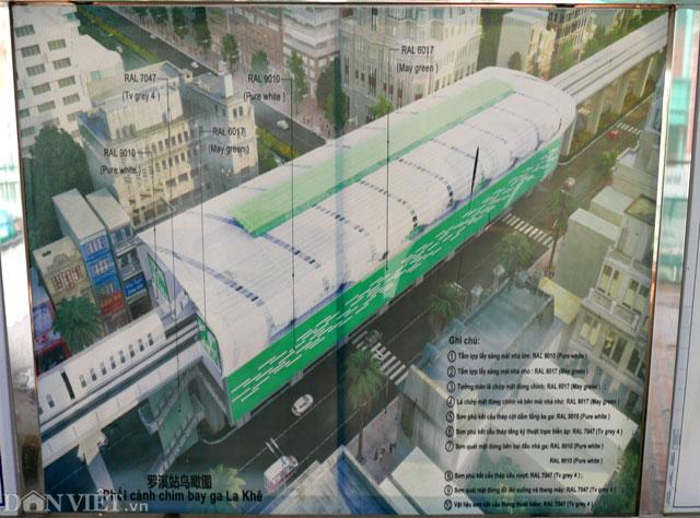 Ngoài công việc hoàn thiện các nhà ga, nhà ga mẫu La Khê cách đó không xa cũng đang được triển khai nhanh chóng. Trong ảnh là phối cảnh tại nhà ga La Khê