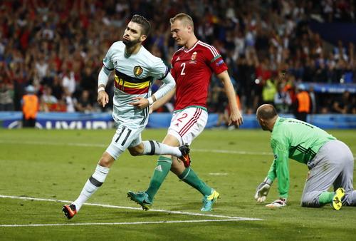 Yannick Carrasco sau khi ghi bàn thắng thứ tư cho tuyển Bỉ