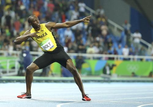 Hình ảnh chiến thắng quen thuộc của Usain Bolt