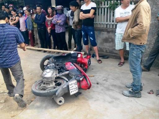 Hiện trường vụ tai nạn làm nam sinh Lê Văn Th. tử vong tại chỗ