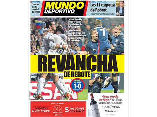 Trang bìa của báo Mundo Deportivo: Atletico có cơ hội đòi món nợ thua Real Madrid 1-4 ở chung kết 2014Ảnh: AS