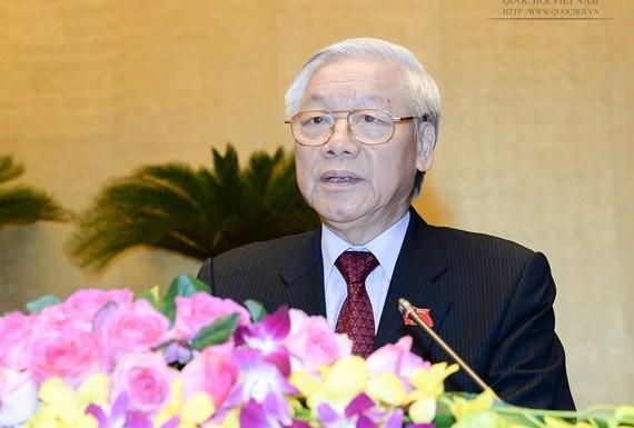 Tổng Bí thư Nguyễn Phú Trọng phát biểu tại phiên khai mạc kỳ họp - Ảnh : Quochoi.vn