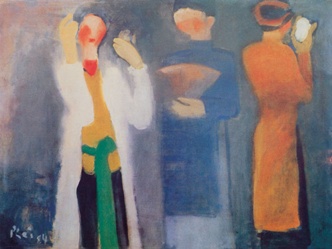 Bức tranh Trước giờ biểu diễn của Nguyễn Xuân Phài treo tại Bảo tàng Mỹ Thuật TP HCM nhưng bức tranh giả đã từng được Sothebys đem bán đấu giá