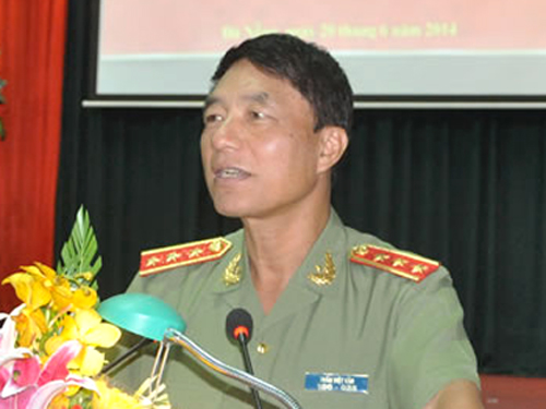 Thượng tướng Trần Việt Tân phát biểu chỉ đạo tại một hội nghị của ngành công an khi còn đương chức