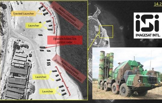 Ảnh vệ tinh cho thấy tên lửa được triển khai trên đảo Phú Lâm - Ảnh: ImageSat International