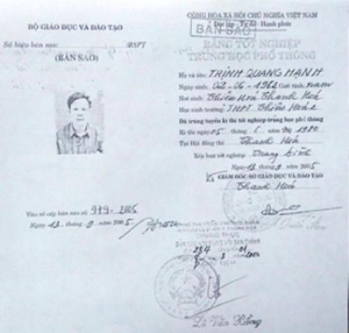 Bằng THPT của ông Trịnh Quang Hạnh lưu ở Phòng Nội vụ huyện Thường Xuân không có trong hồ sơ lưu của Sở Giáo dục - Đào tạo tỉnh Thanh Hóa