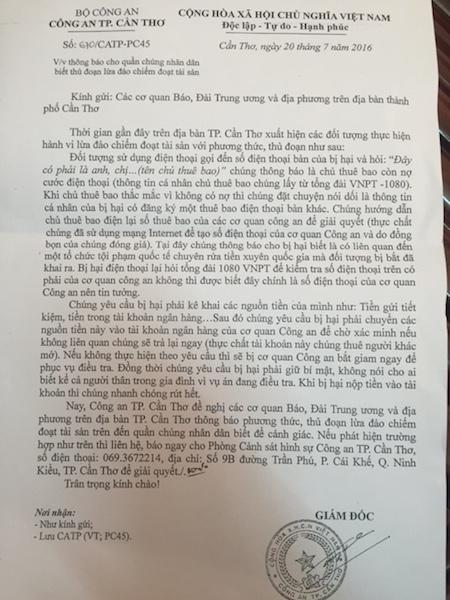 Văn bản thông báo nhằm cảnh báo cho người dân của Công an TP Cần Thơ.