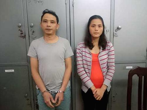 Nguyễn Mạnh Đức và Lê Thị Nhường, cặp vợ chồng trùm mua đồ ăn cắp phụ tùng ô tô tại Chợ Trời - Ảnh: CAND