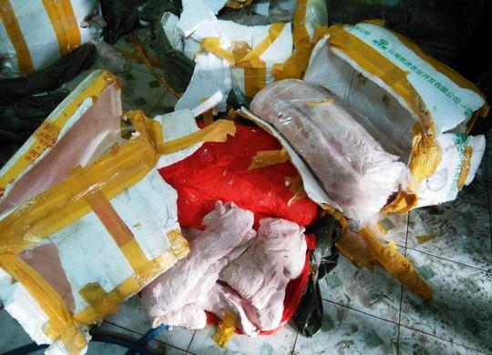 40 thùng xốp chứa vú heo bốc mùi hôi thối chuẩn bị được giao cho các nhà hàng để hô biến thành vú dê nướng