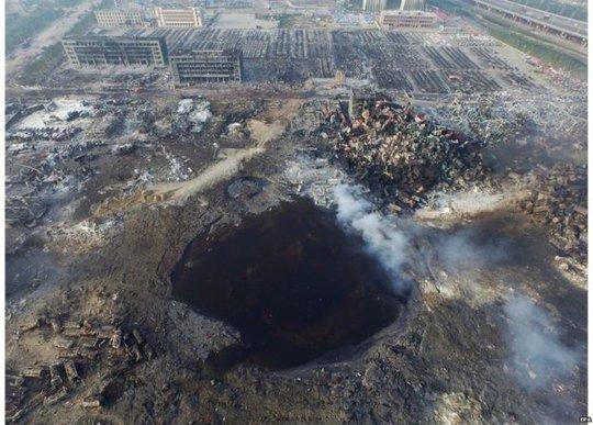 Nổ kho hóa chất ở Thiên Tân. Ảnh: EPA