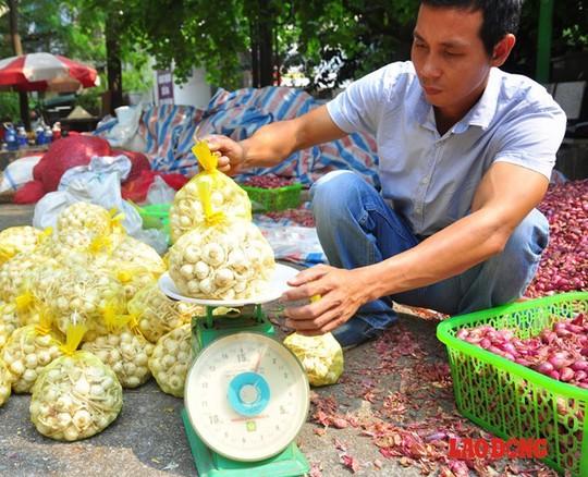 Anh Thắm cho biết, do địa điểm bán của anh tại Hà Nội chưa có nhiều người biết đến nên số lượng bán được khá ít. Hiện tỏi được bán với giá cao nhất là 75.000 đồng/kg, 45.000 đồng/kg hành.