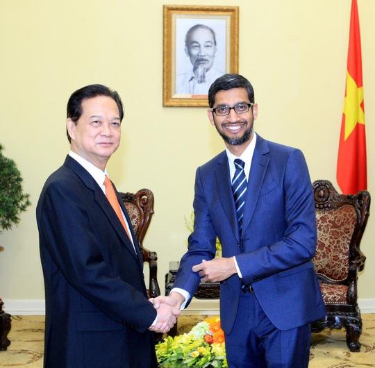 Thủ tướng Nguyễn Tấn Dũng đã tiếp Tổng Giám đốc điều hành Tập đoàn Google Sundar Pichai - Ảnh: Nhật Bắc