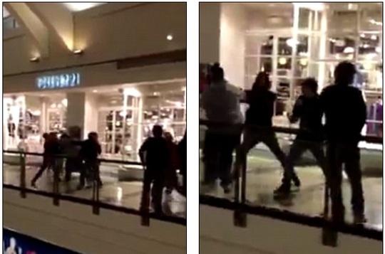 Một nhóm thiếu niên đánh nhau bên ngoài một cửa hiệu