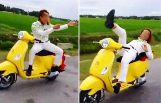 Hình ảnh điều khiển xe máy buông tay chân khi đi xe máy của Đỗ Ngọc Luân (ảnh facebook Thánh Luân)
