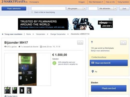 Những di vật từ MH17 được rao bán