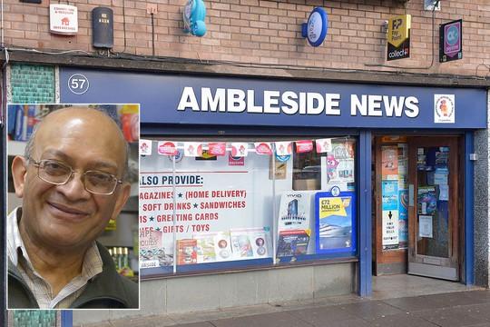 Ông Natu Patel, chủ tiệm bán báo, nơi đã bán tấm vé trúng thứ 2. Ảnh: The Sun