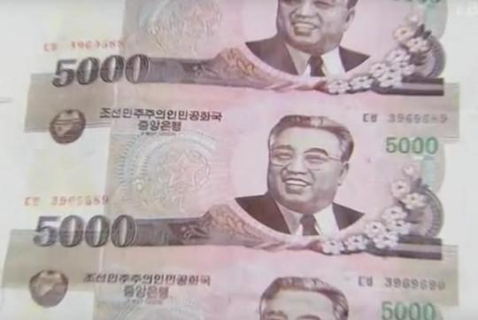 Tất cả tờ tiền giả đều có mệnh giá 5.000 won Triều Tiên. Ảnh: KBS TV