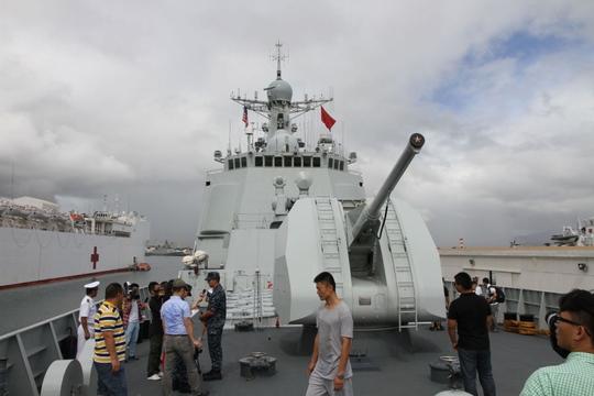 Tàu khu trục Hải Khẩu của Trung Quốc tham gia RIMPAC 2014. Ảnh: STARS AND STRIPES