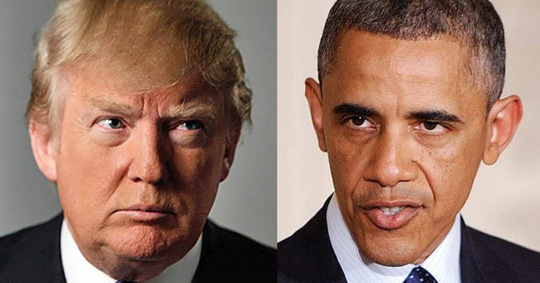 Cuộc đối đầu giữa ông Trump (trái) và Tổng thống Obama đến hồi gay cấn. Ảnh: DC WHISPERS