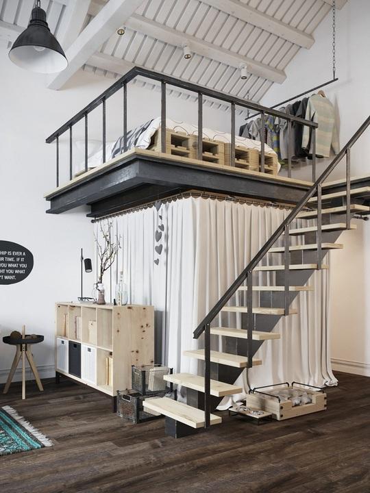 Gác xép là một giải pháp thông minh với những không gian sống khiêm tốn như căn hộ này.