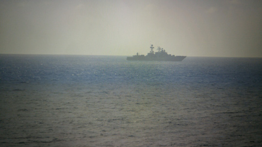Khu trục hạm Đô đốc Vinogradov được nhìn thấy hôm 17-7. Ảnh: USNI NEWS