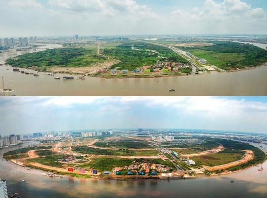 Gần 20 năm sau ngày Thủ Thiêm được quy hoạch trở thành trung tâm hành chính mới của TP HCM, hình hài của một khu đô thị hiện đại đang dần hiện ra