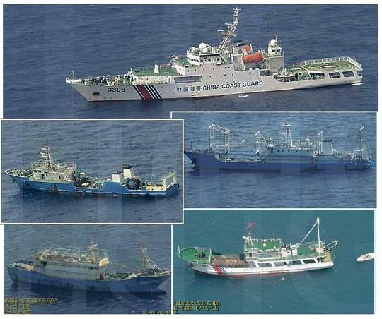 Trong số các hình ảnh chụp đội tàu Trung Quốc gần bãi cạn không thấy tàu hút bùn. Ảnh: BỘ QUỐC PHÒNG PHILIPPINES