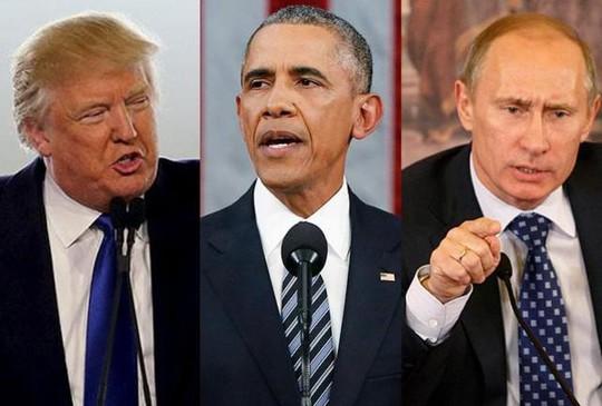 Ông Trump (trái) so sánh TT Obama (giữa) và TT Putin (phải). Ảnh: GMA NETWORK