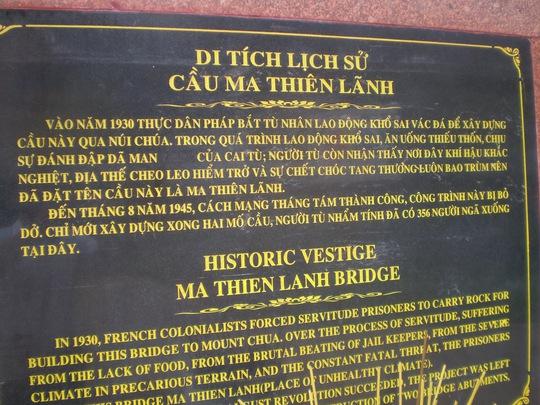 Di tích cầu Ma Thiên Lãnh – Côn Đảo – Nơi 356 người tù lao dịch khổ sai đã ngã xuống.